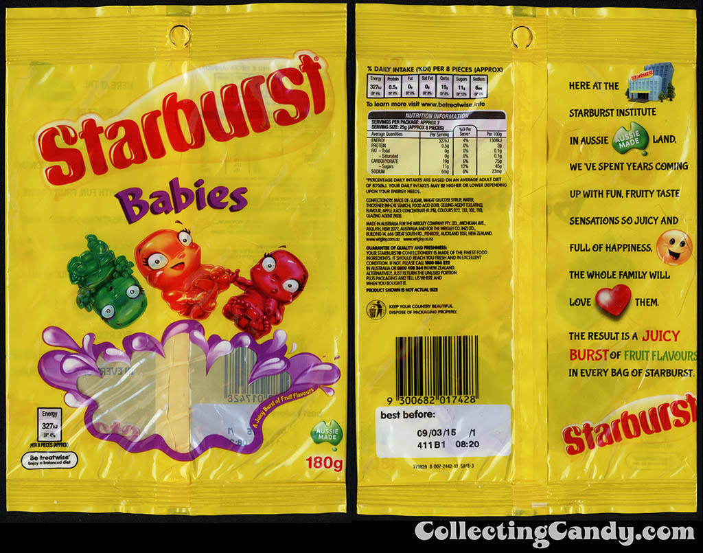 Australia-New Zealand - Wrigley - Starburst Babies - 180g gummy candy package - 2014