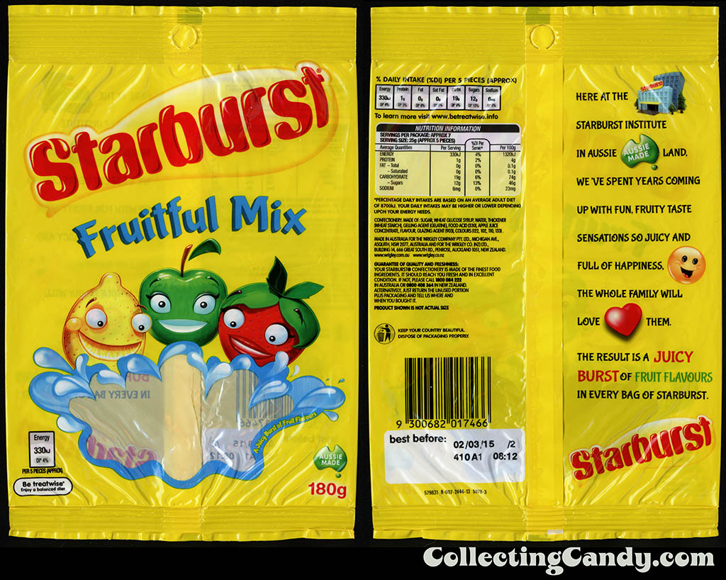 Australia-New Zealand - Wrigley - Starburst Fruitful Mix - 180g candy package - 2014