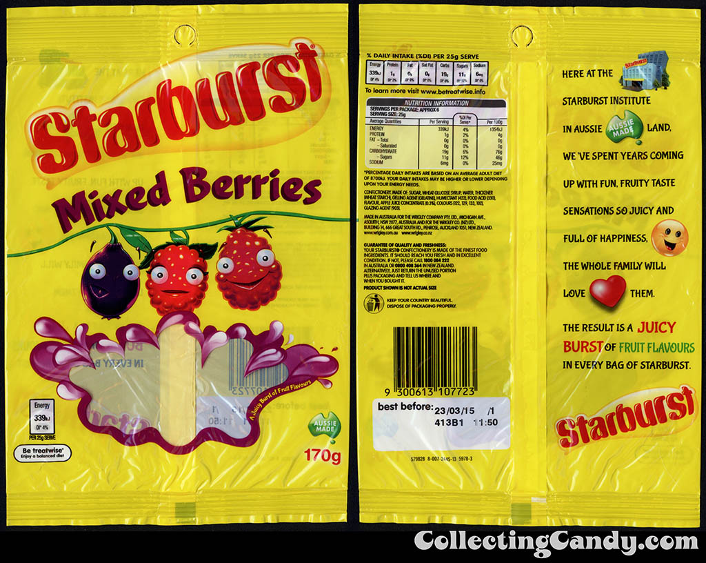 Australia-New Zealand - Wrigley - Starburst Mixed Berries - 170g candy package - 2014