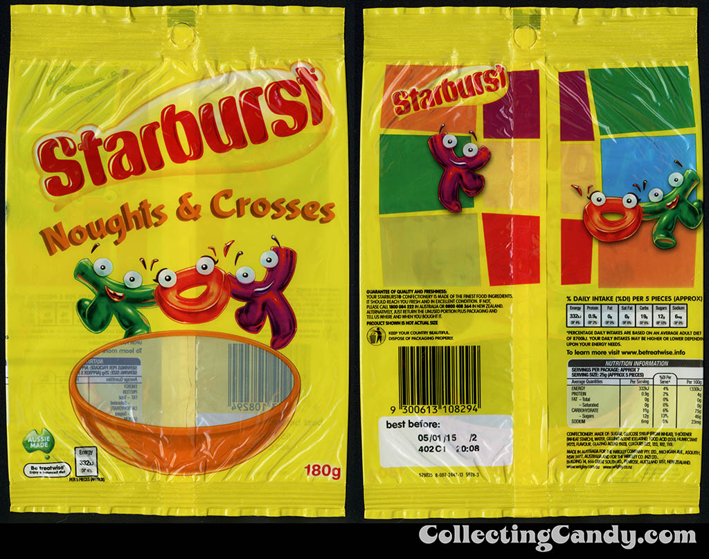 Australia-New Zealand - Wrigley - Starburst Noughts & Crosses - 180g gummy candy package - 2014