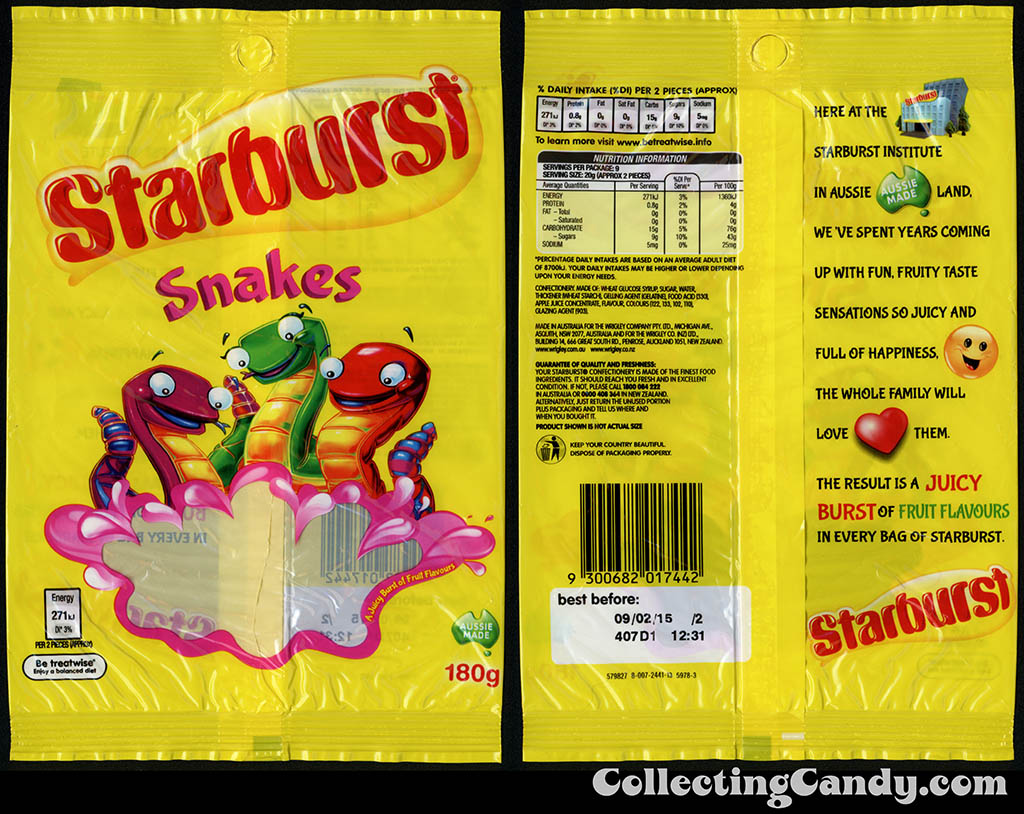 Australia-New Zealand - Wrigley - Starburst Snakes - 180g gummy candy package - 2014