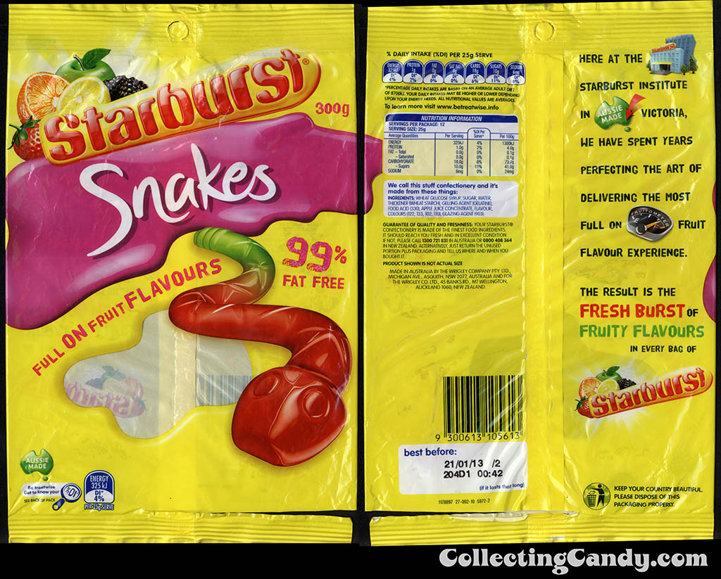 Australia-New Zealand - Wrigley - Starburst Snakes - 300g gummy candy package - 2012
