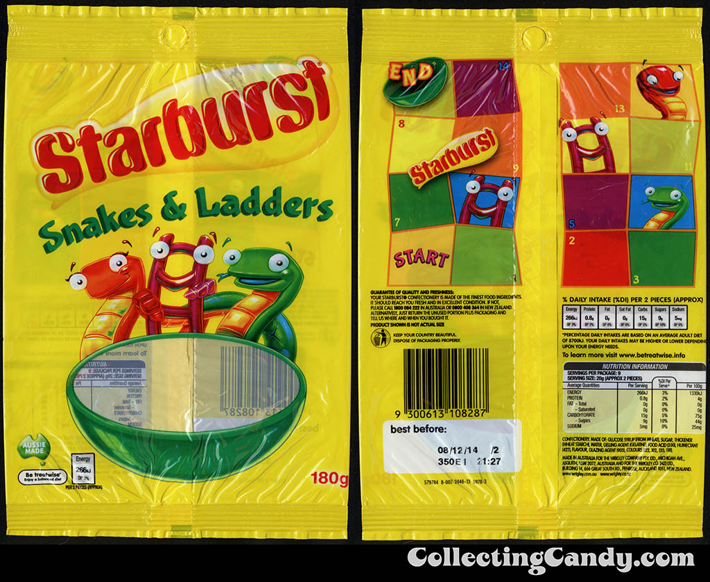 Australia-New Zealand - Wrigley - Starburst Snakes & Ladders - 180g gummy candy package - 2014