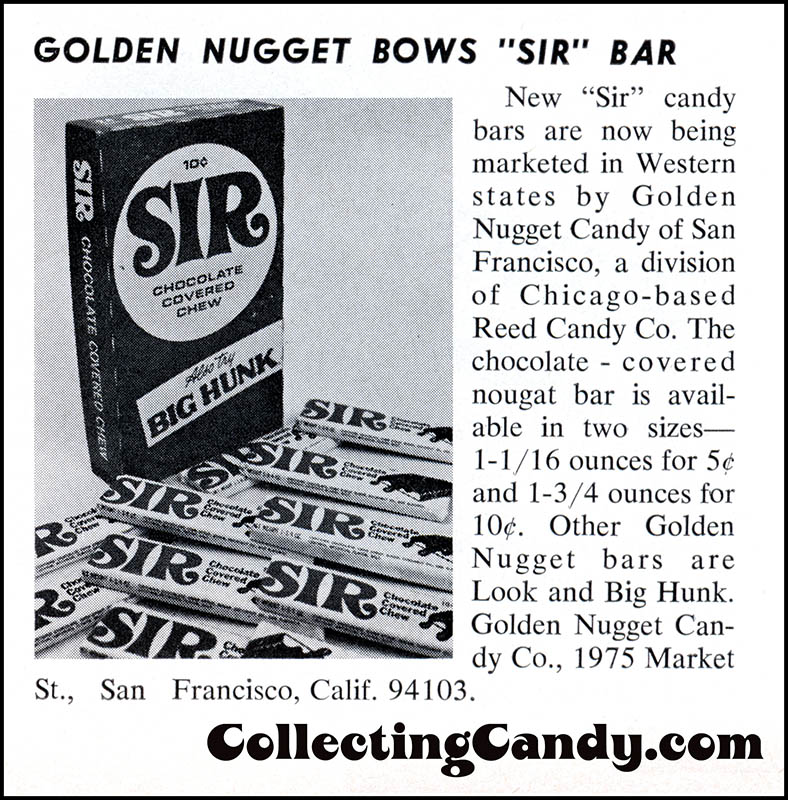 Golden Nugget - Sir bar launch - candy trade magazine clipping - December 1967