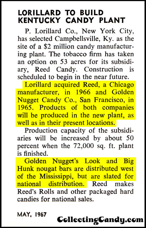 Golden Nugget company background - Candy Industry Trade Clipping May 1967