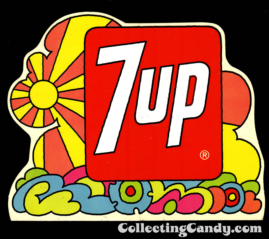 7-Up - Sunshine Hippie design sticker - Early 1970's