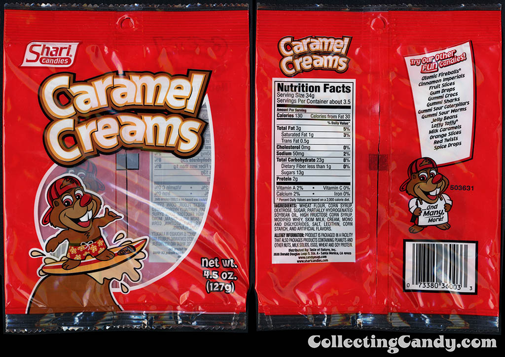 Shari Candies - Caramel Creams - 4_5 oz candy package - 2015