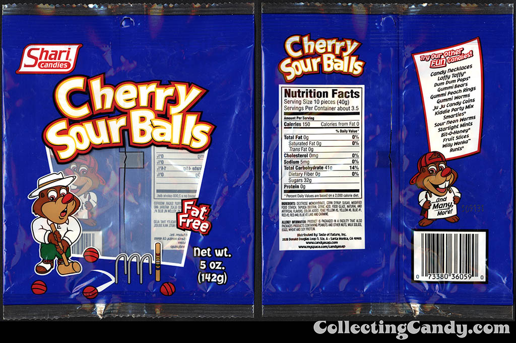 Shari Candies - Cherry Sour Balls - 5oz candy package - 2015