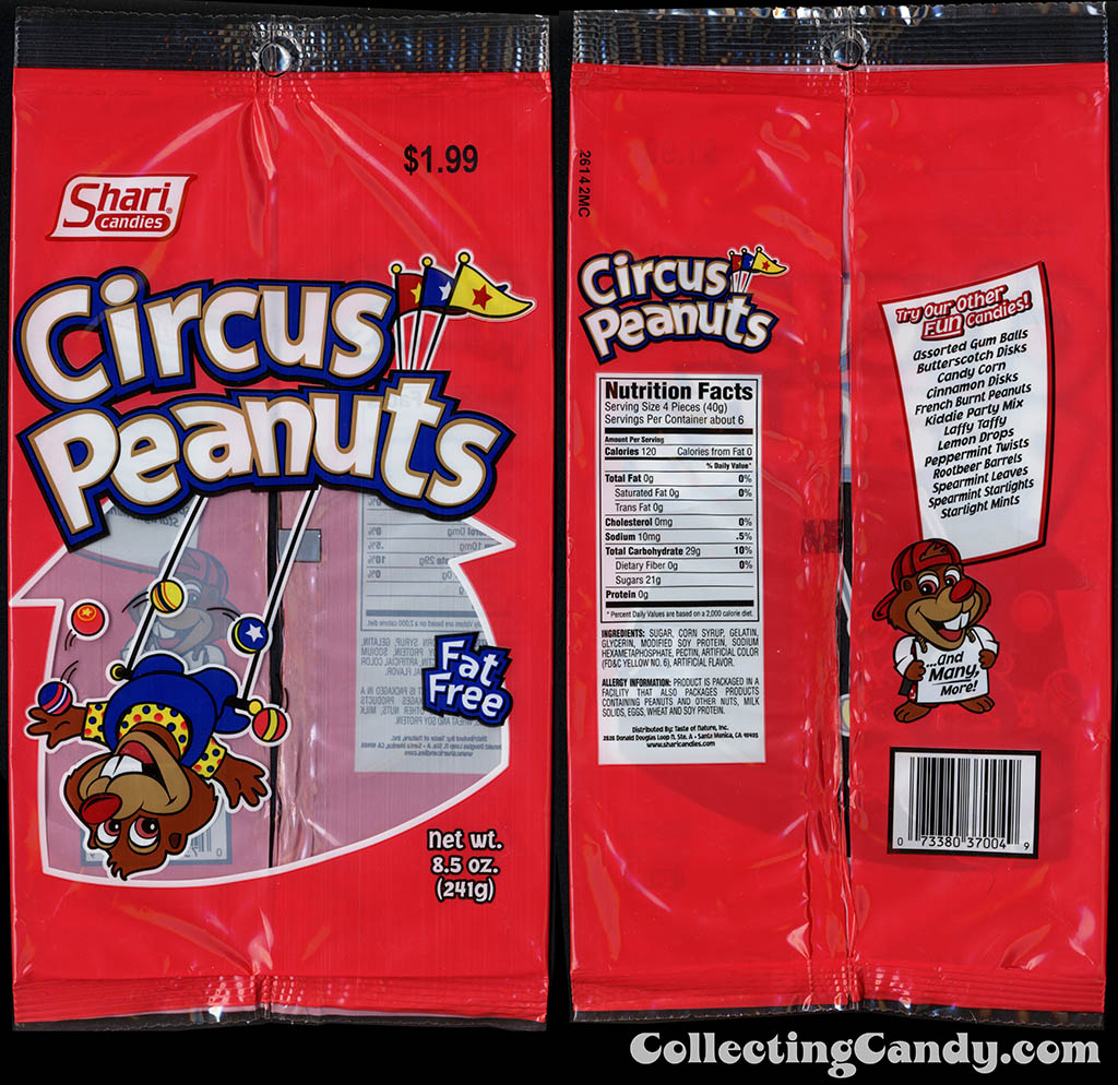 Shari Candies - Circus Peanuts - 8.5 oz candy package - 2015