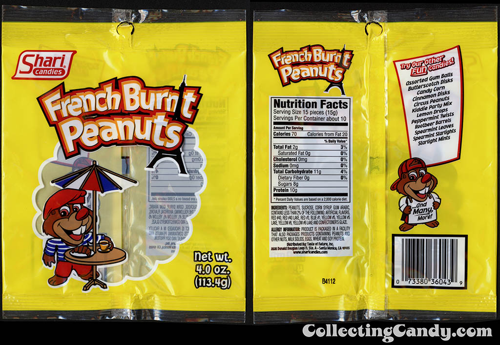 Shari Candies - French Burnt Peanuts - 4 oz candy package - 2015