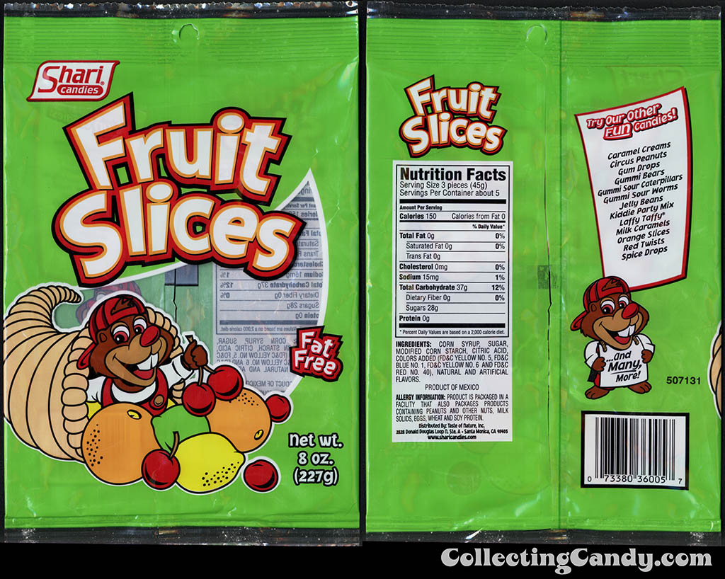 Shari Candies - Fruit Slices - 8 oz gummi candy package - 2015