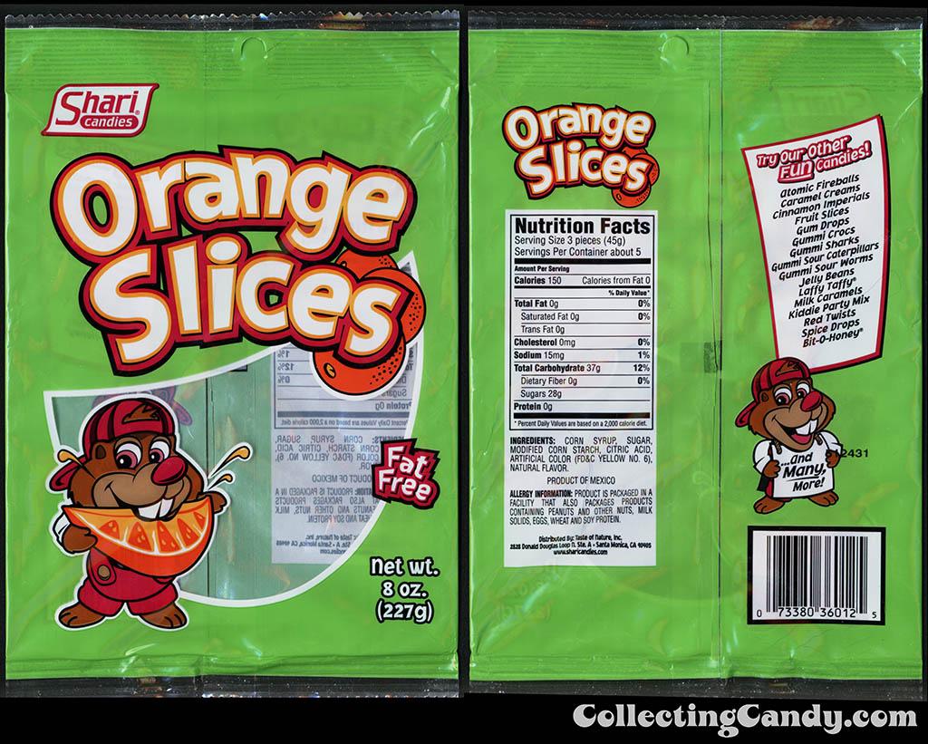 Shari Candies - Orange Slices - 8 oz gummi candy package - 2015