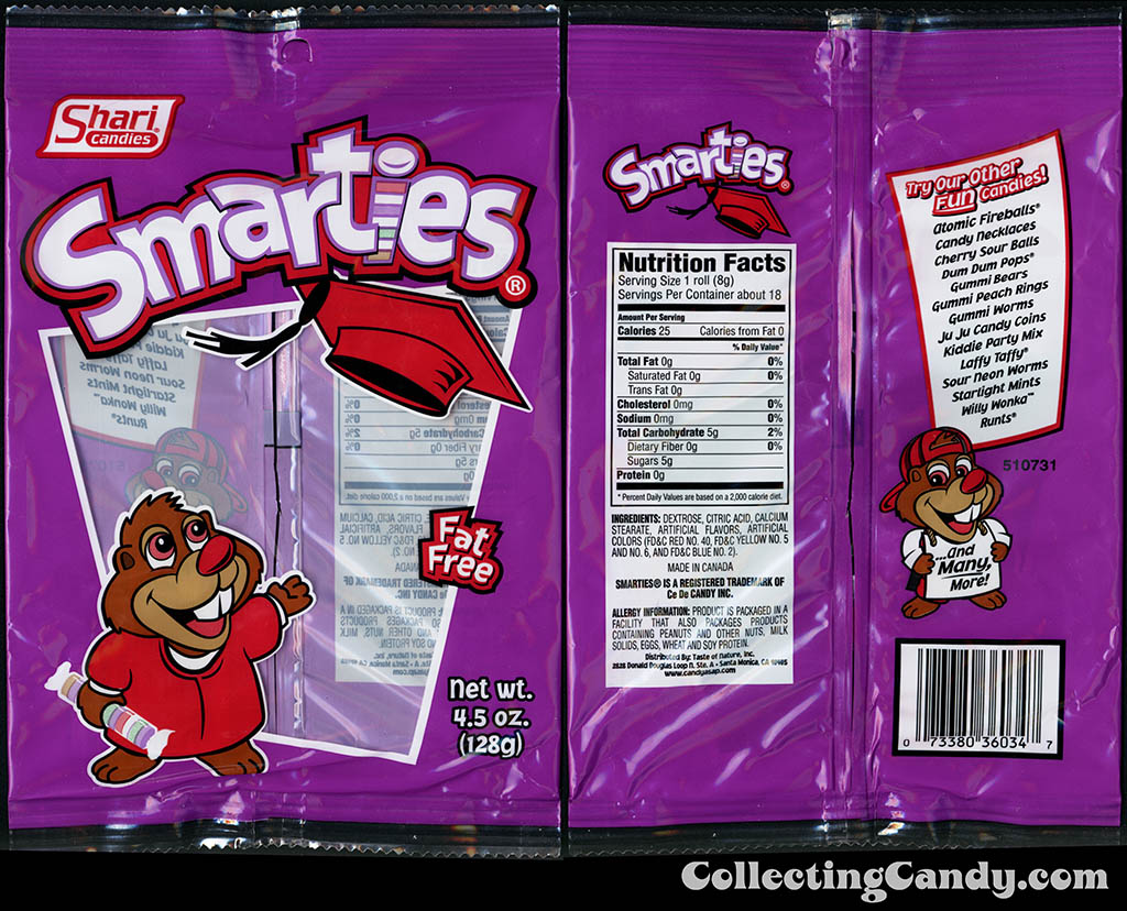 Shari Candies - Smarties - 4.5 oz candy package - 2015