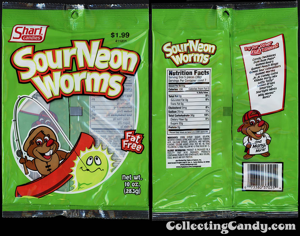 Shari Candies - Sour Neon Worms - 10 oz gummi candy package - 2015