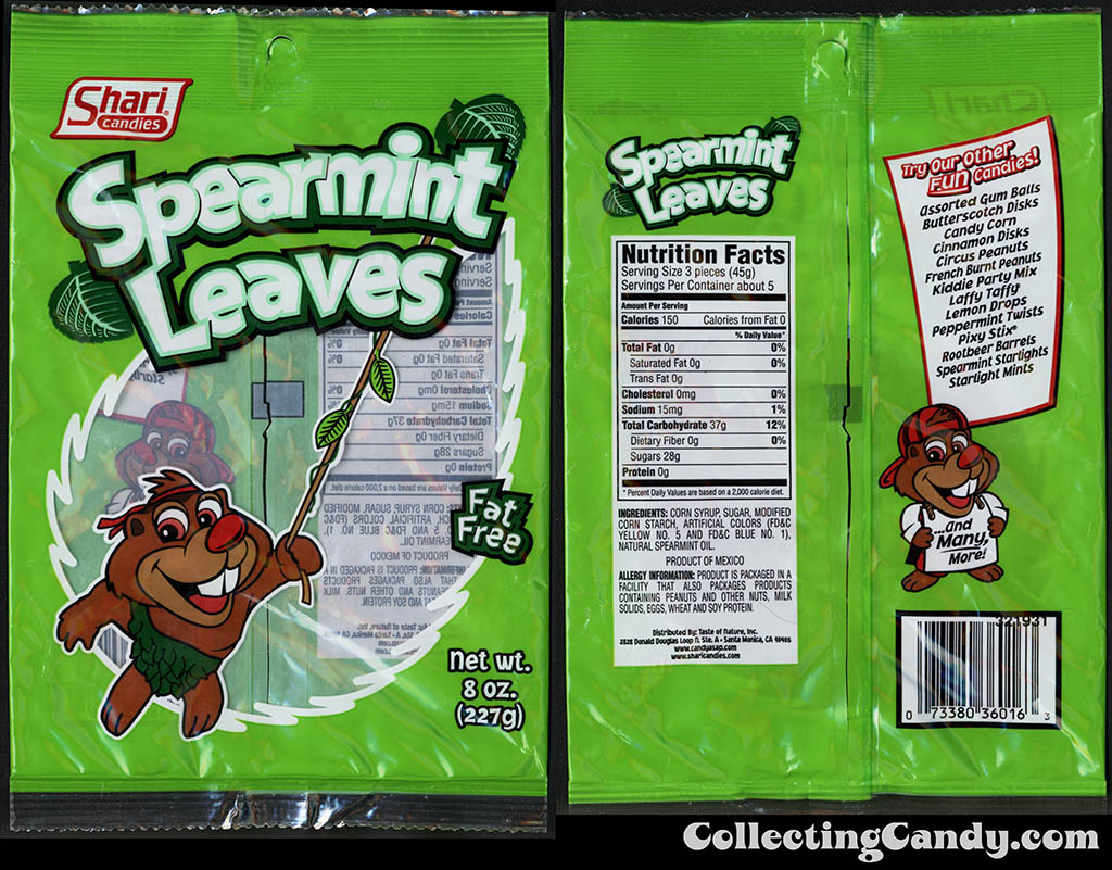 Shari Candies - Spearmint Leaves - 8 oz gummi candy package - 2015