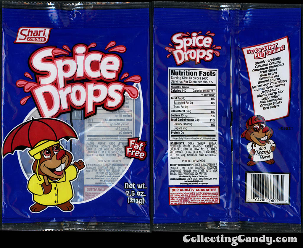 Shari Candies - Spice Drops - 7.5 oz gummi candy package - 2015