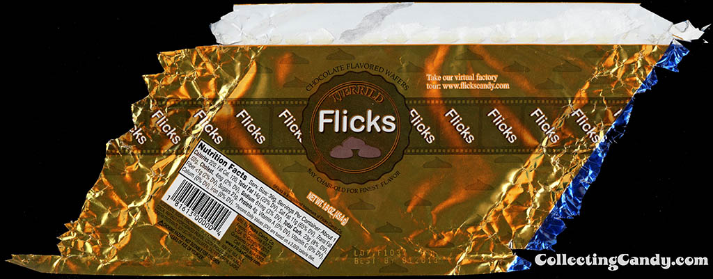 Flicks Candy Company - Tjerrild - Flicks - chocolate flavored wafers - gold - 1.6 oz foil candy wrapper - 2011