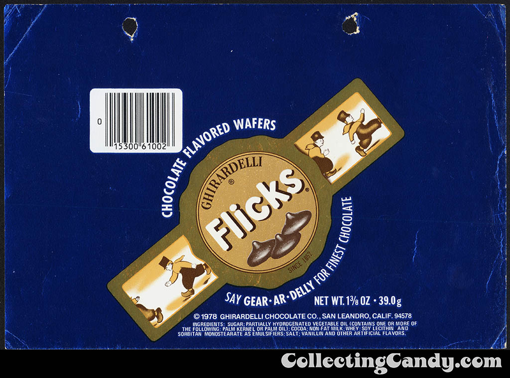 Ghirardelli - Flicks - chocolate flavored wafers - blue - 1 3/8 oz foil candy wrapper - 1980