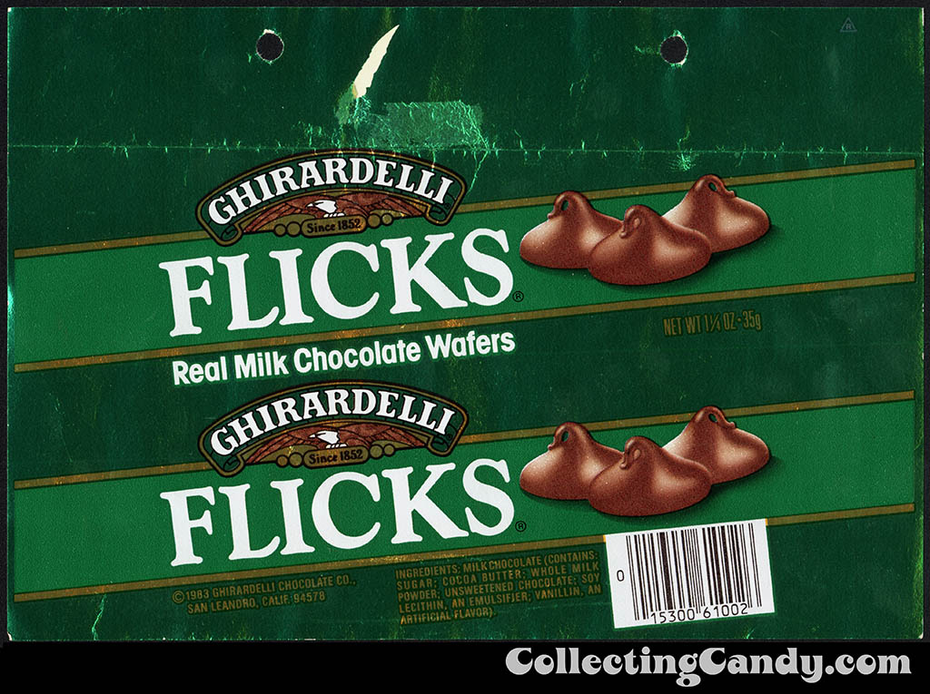 Ghirardelli - Flicks - milk chocolate wafers - green - 1 1/4 oz foil candy wrapper - mid-1980's