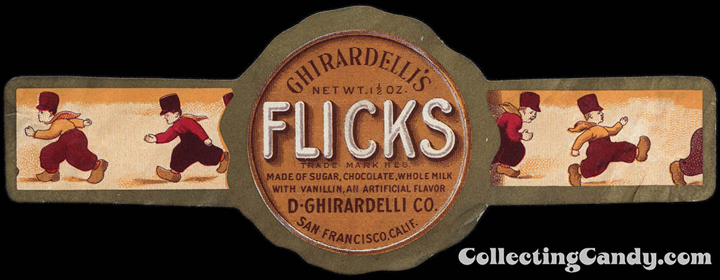 Ghirardelli's - Flicks - chocolate candy wrapper band - circa 1920's 1930's