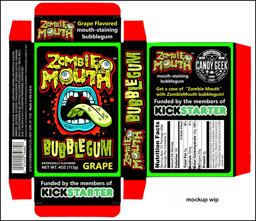 Zombie Mouth box design mockup