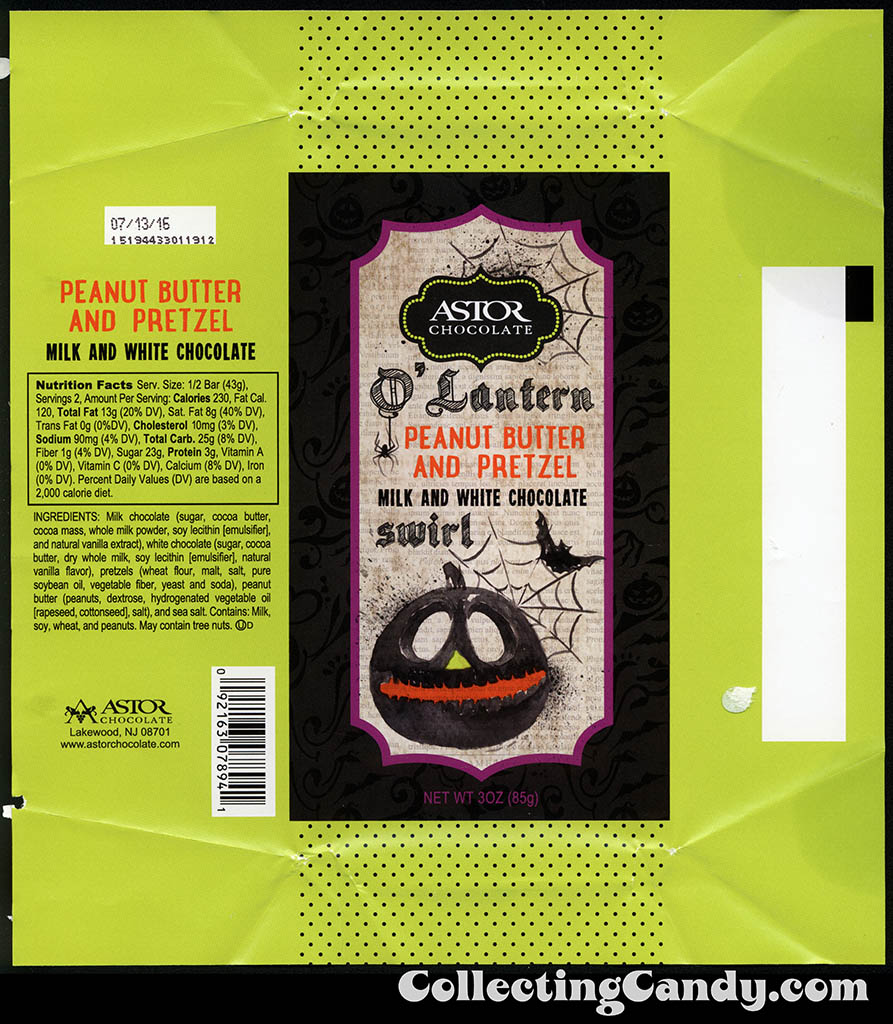 Astor Chocolates - O'Lantern - Peanut Butter and Pretzel - milk and white chocolate swirl - 3 oz Halloween chocolate bar wrapper - October 2015
