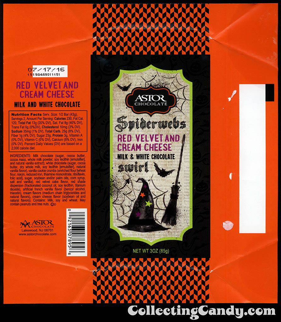 Astor Chocolates - Spiderwebs - Red Velvet and Cream Cheese swirl - 3 oz Halloween chocolate bar wrapper - October 2015