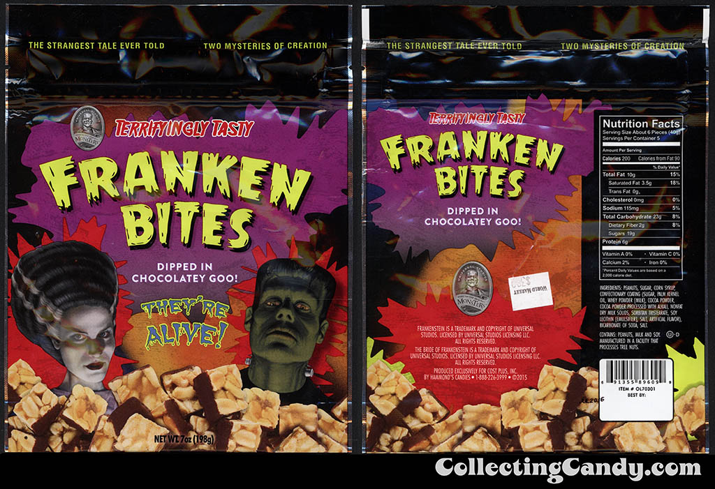 Hammond's - Cost Plus World Market - Universal Monsters Franken Bites - 7oz Halloween candy package - October 2015