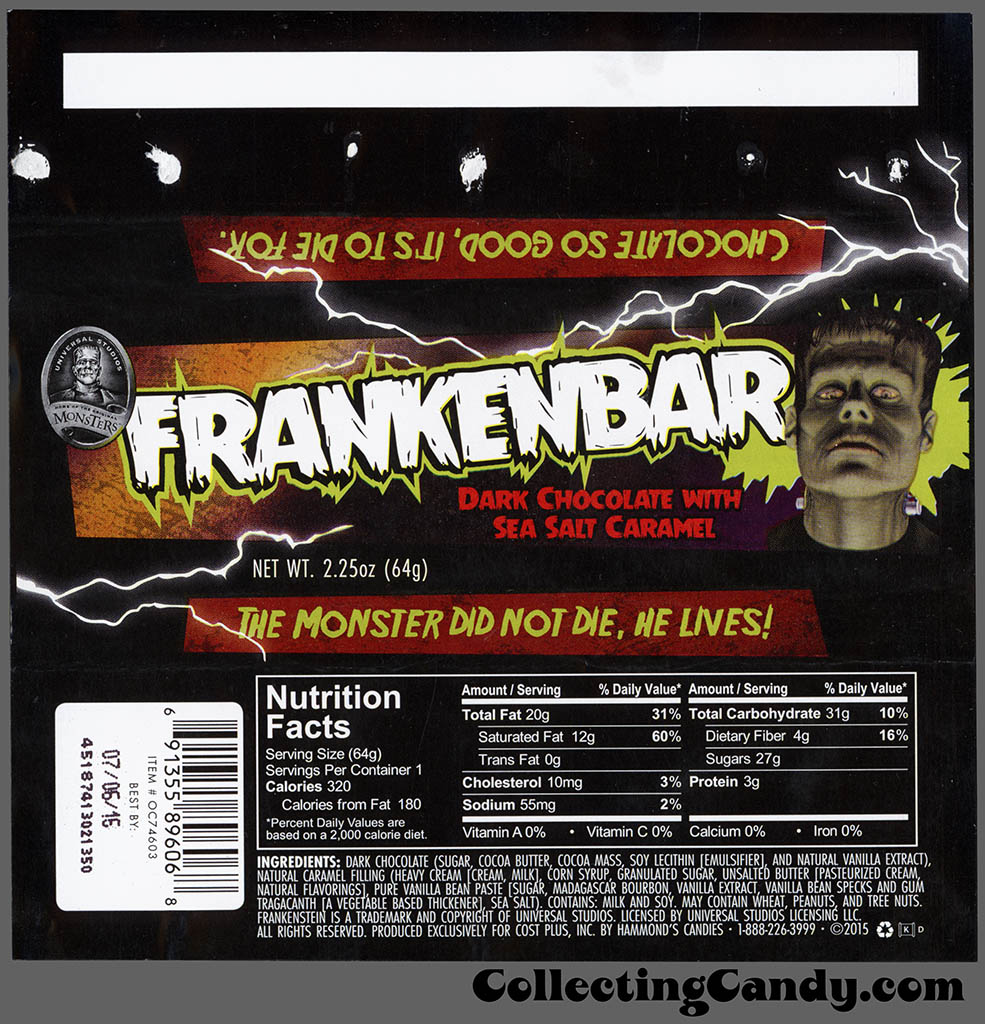 Hammond's - Cost Plus World Market - Universal Monsters Frankenbar - Frankenstein's Monster - 2.25 oz Halloween chocolate candy bar wrapper - October 2015