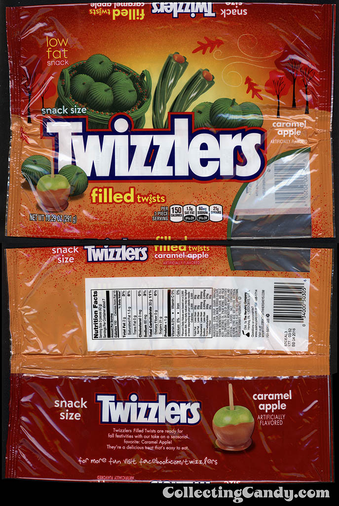 Hershey - Twizzlers Snack Size Filled Twists - Caramel Apple - 10.29 oz Autumn - Halloween candy package - Fall 2015