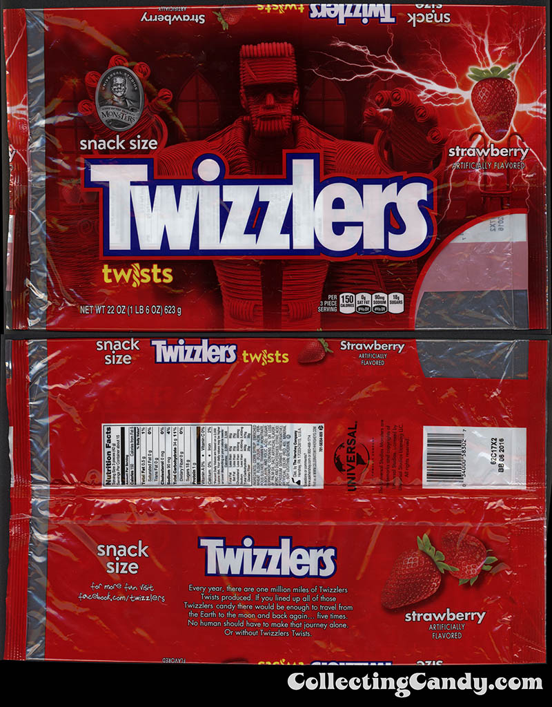 Hershey - Twizzlers Snack Size Twists - Halloween Universal Monsters Frankenstein edition - 22 oz multi-pack candy package - Fall 2015