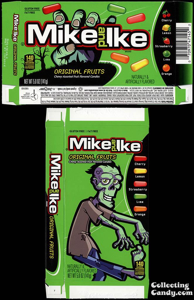 Just Born - Mike and Ike Original Fruits - Halloween seasonal graphics - 5oz candy box - October 2015