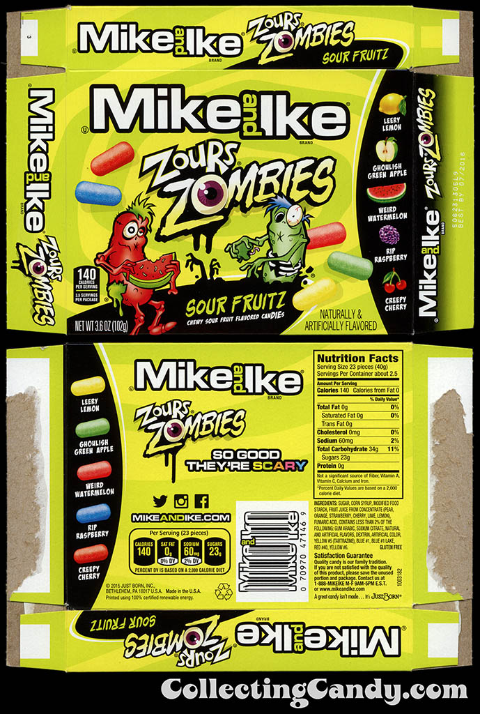 Just Born - Mike and Ike Zours Zombies Sour Fruitz - Halloween seasonal graphics - 3.6 oz candy box - October 2015