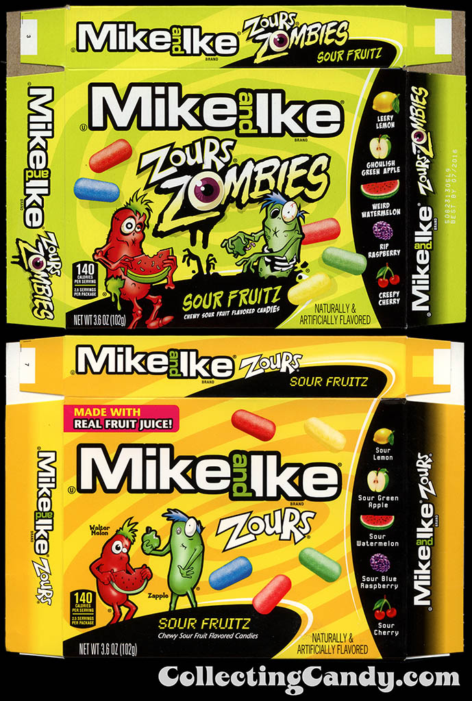 Just Born - Mike and Ike Zours Zombies Sour Fruitz - standard Zours packaging comparison - 2015