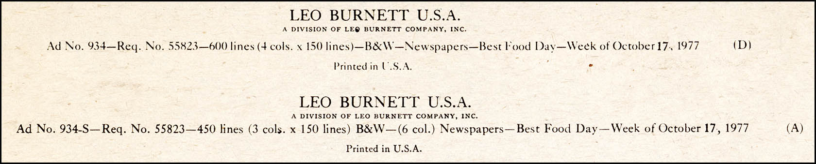Leo Burnett newspaper ad proof close-up