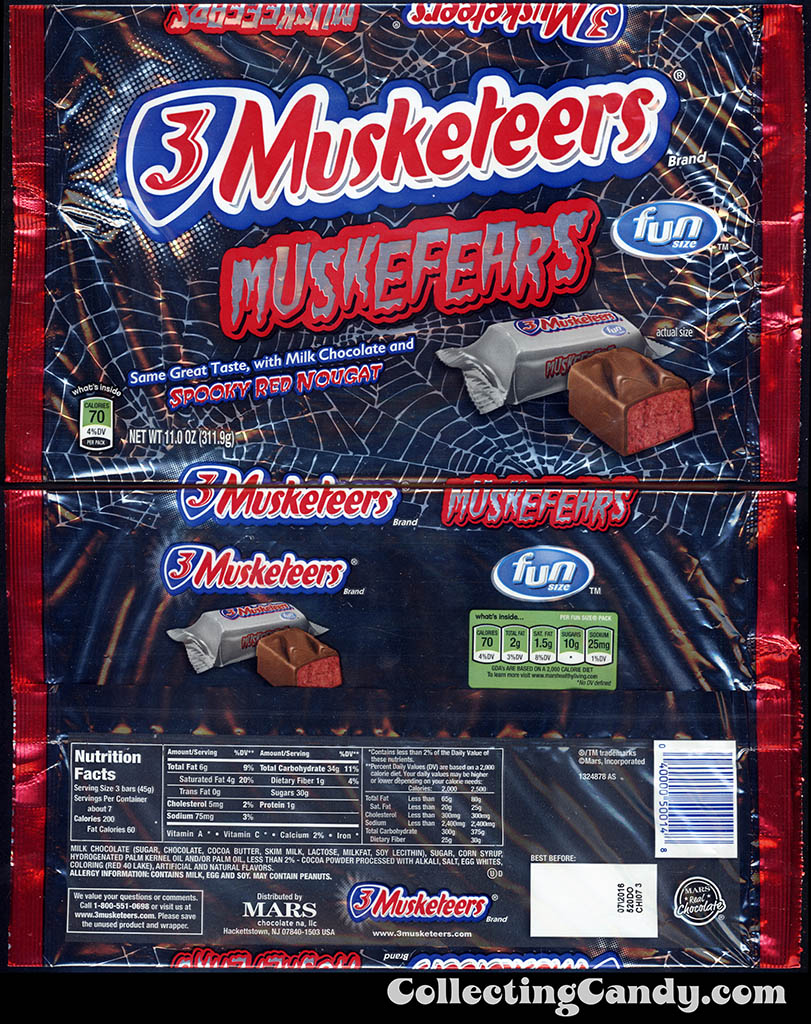 Mars - 3 Musketeers - Muskefears - Halloween edition - 11 oz chocolate candy multipack fun size packaging - Fall 2015