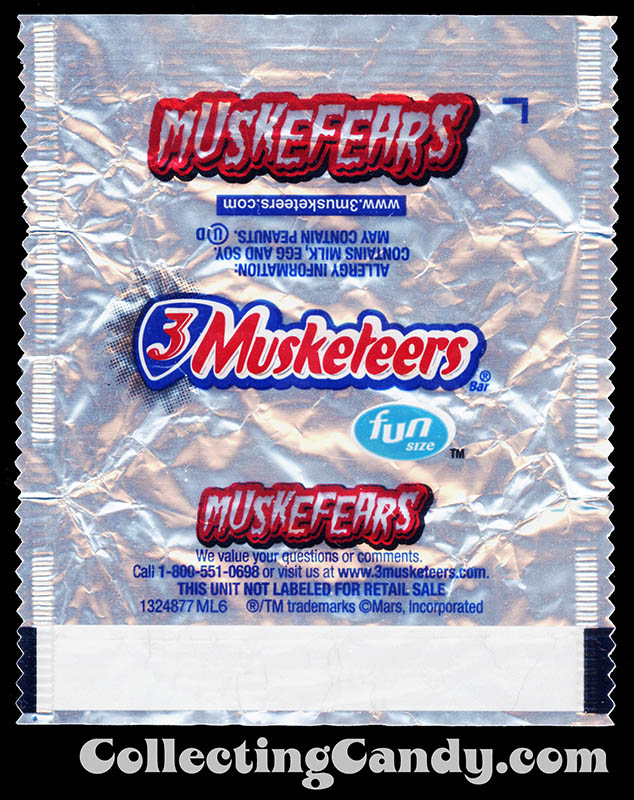 Mars - 3 Musketeers - Muskefears - Halloween edition - fun size candy wrapper - Fall 2015