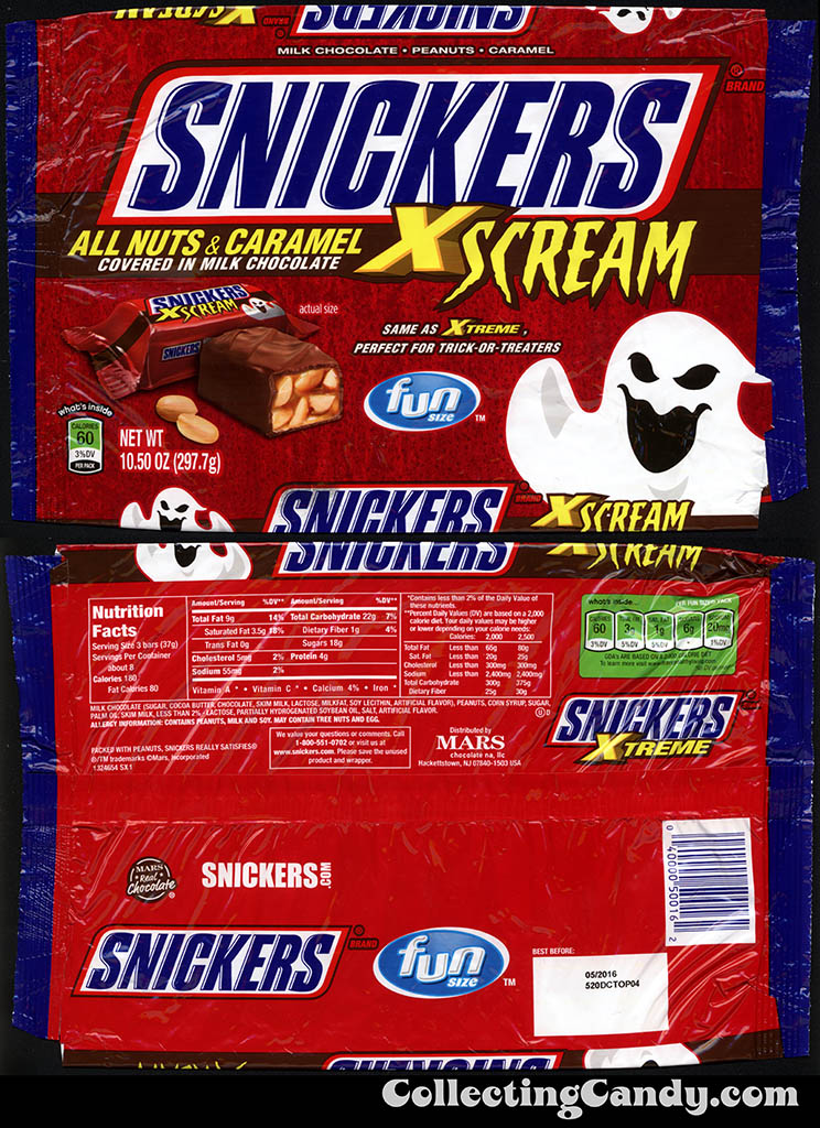 Mars - Snickers Xtreme - Xcream Halloween fun size - 10.50 oz multi bag package - Fall 2015