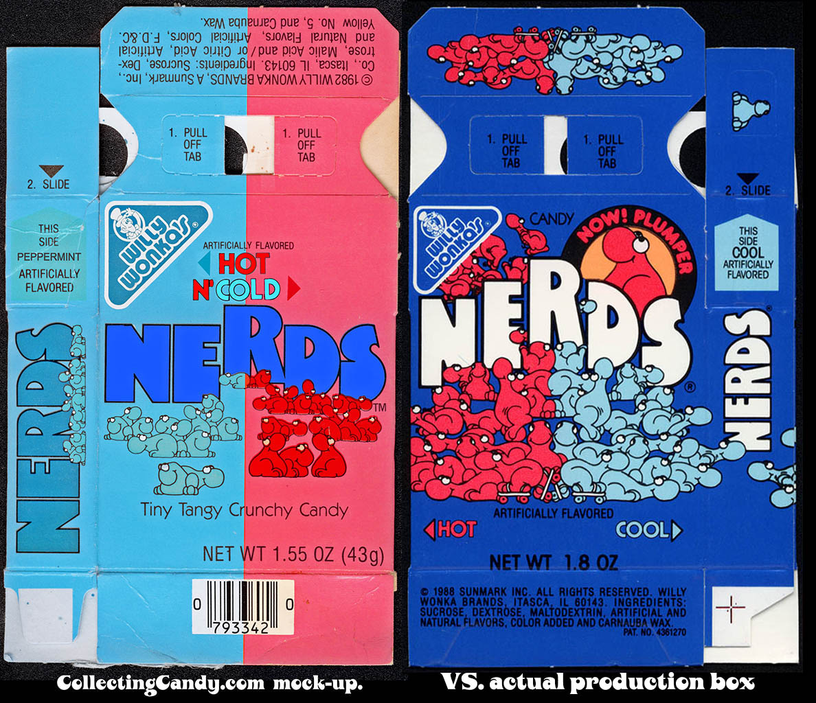 Nerds Hot and Cold - CollectingCandy mock-up vs production box