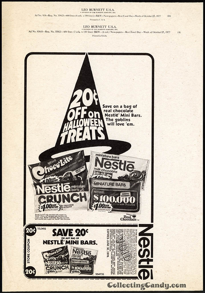 Nestle - 20-cents off Halloween Treats - newspaper ad proof - Leo Burnett - Fall 1977