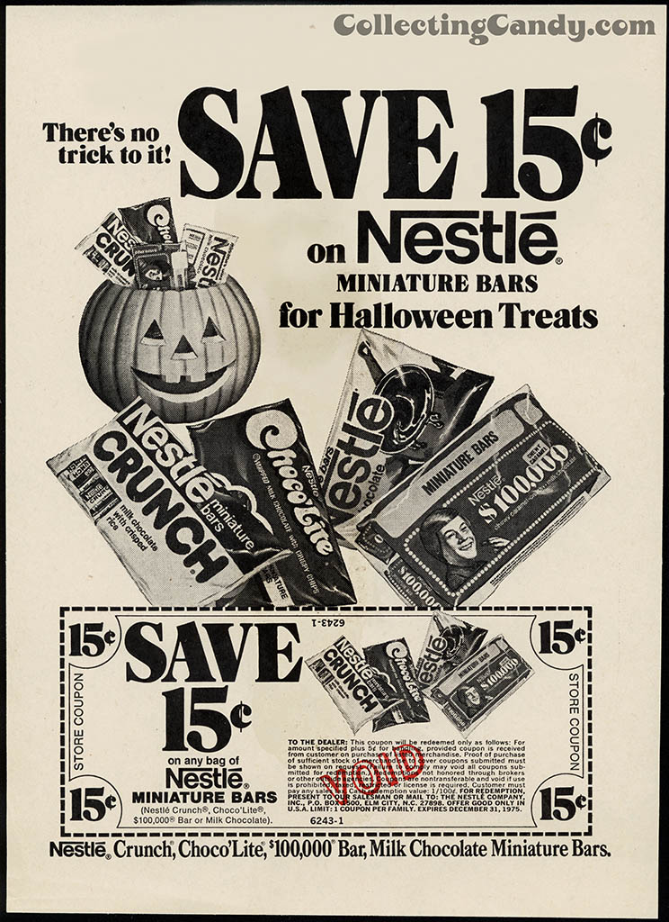 Nestle - Save 15-cents on Halloween Treats - newspaper ad proof - 1975