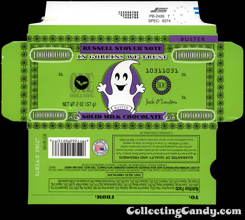 Russell Stover - Halloween Billion Dollar Note - Buster the Ghost - 2 oz chocolate bar box - October 2012