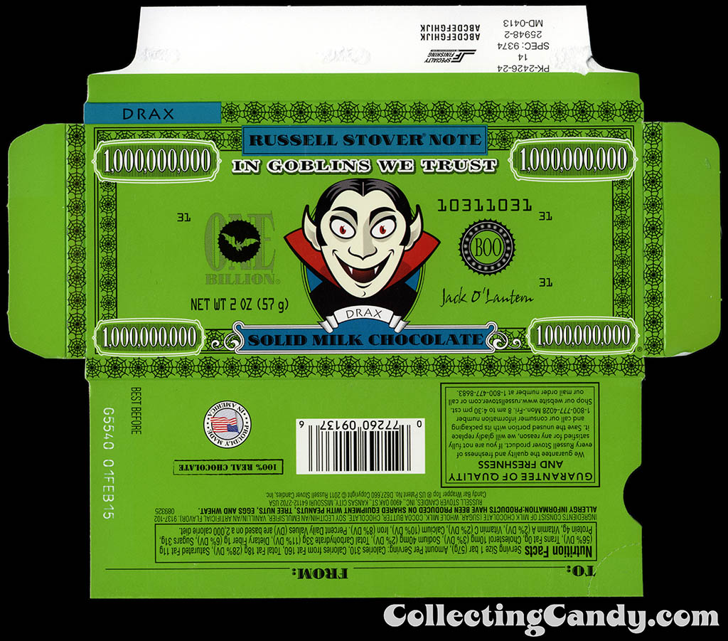 Russell Stover - Halloween Billion Dollar Note - Drax the Vampire - 2 oz chocolate bar box - October 2014