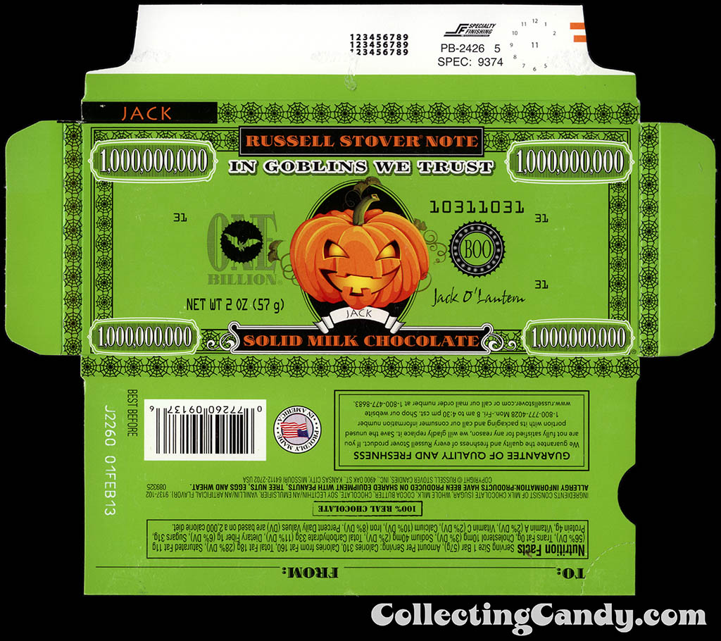 Russell Stover - Halloween Billion Dollar Note - Jack O Lantern - 2 oz chocolate bar box - October 2012