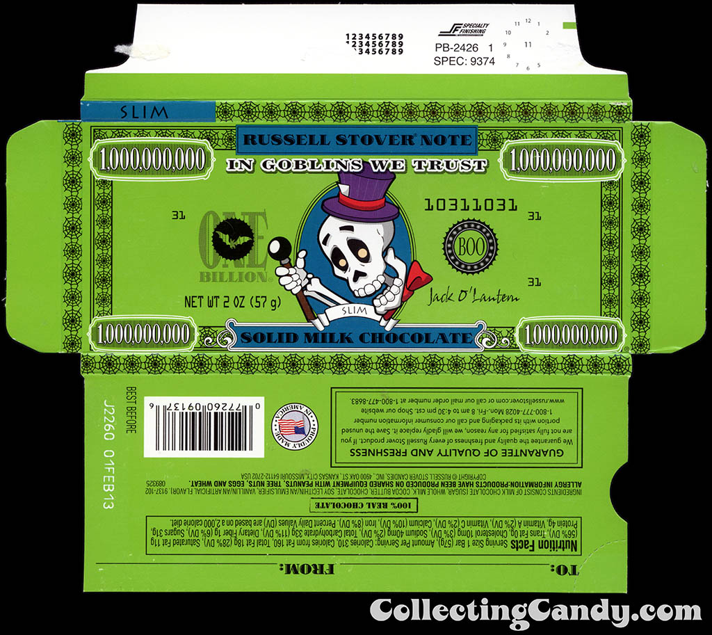Russell Stover - Halloween Billion Dollar Note - Slim the Skeleton - 2 oz chocolate bar box - October 2012