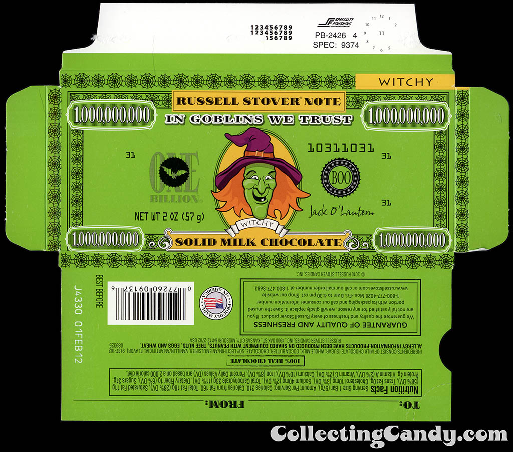 Russell Stover - Halloween Billion Dollar Note - Witchy the Witch - 2 oz chocolate bar box - October 2011