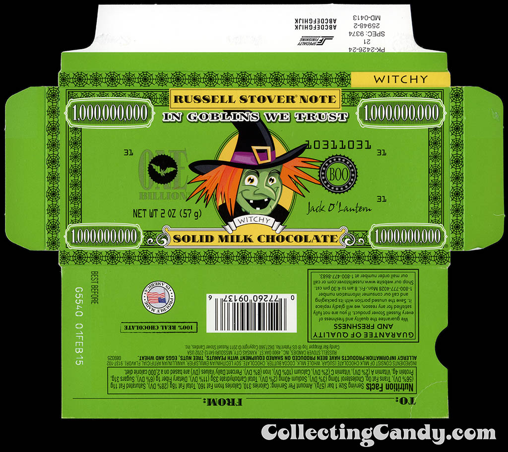Russell Stover - Halloween Billion Dollar Note - Witchy the Witch - 2 oz chocolate bar box - October 2014