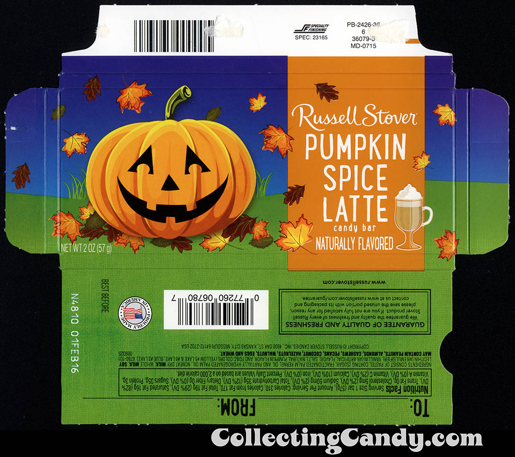 Russell Stover - Pumpkin Spice Latte - Halloween - 2oz candy bar wrapper box - October 2015