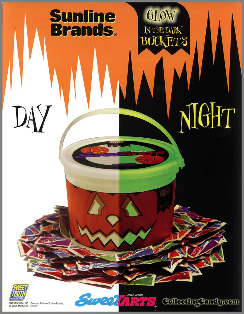 Sunmark-Sunline - Halloween Treats - Sweetarts Glow in the Dark Buckets - promotional flyer sheet - 1990's