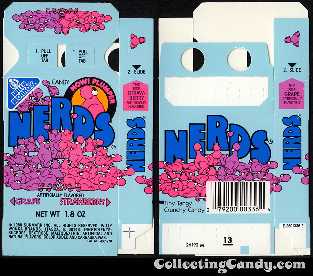 Sunmark - Willy Wonka Brands - Nerds - Grape & Strawberry - Now Plumper - 1.8 oz candy box - 1988